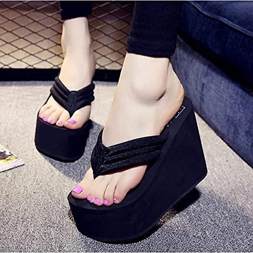 Sandalias con Tira Trasera,Clip de Fondo Grueso Antideslizante de Verano hacia el Amante, Medio con Zapatos de Playa-Negro_40,Pantuflas de baño