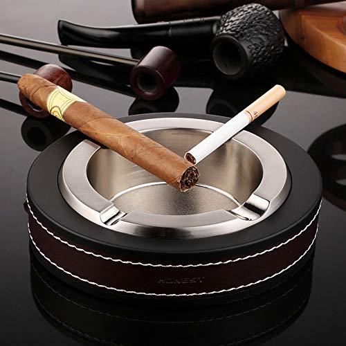 ZWR Cenicero portátil para cigarros, Soporte para cigarros de Cuero de Metal Patio/Exterior/Interior del hogar, Juego de Regalo de Accesorios para cigarros (Color : White)