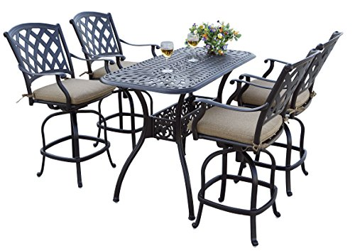 Darlee 5 Piece Ocean View Cast Aluminum Counter Height Bar Set with Seat Cushions, 26'' x 52'', Antique Bronze Finish