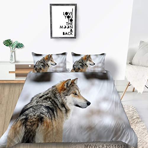 Animal Series Juego de Ropa de Cama 3D Lobos Imprimir Fresco Cómodo Conjunto de Funda de Funda de Moda Natural Transpirable Durable Ropa de Cama Edredón Cubierta Pillownote Nueva casa