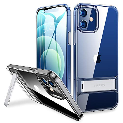 TORRAS MoonClimber Series Designed for iPhone 12 Mini Case 5.4 Inch, Metal Kickstand Hard Slim Clear Phone Case Compatible with iPhone 12 Mini 2020, Clear