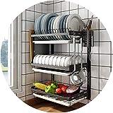 JIAJBG Estante de cocina organizador de pared de desagüe para cubertería, escurridor de platos con bandeja