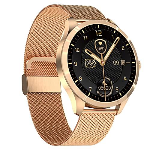 BNMY Smartwatch 1,28' Reloj Inteligente Impermeable IP68 para Mujer Hombre, Pulsera De Actividad con Pulsómetro Monitor De Sueño Podómetro Calorías, Monitores Actividad Deportivo para Android iOS,Oro