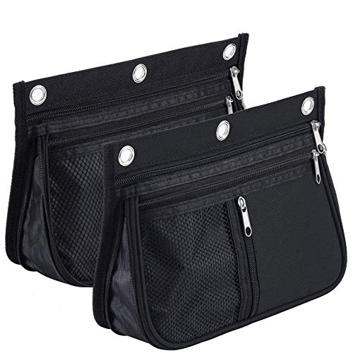Sooez Pencil Pouch for Binder, Expandable Zipper Pencil Pouch, Fabric Pencil Pouches Binder Pockets, Large Capacity Binder Pouch, Pencil Case for Binder, Pencil Pouch 3 Ring, Black, 2 Pack