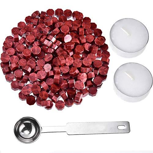 Kit de Sellado de Cera,250 PCS Perlas de Cera de Sellado+2 Velas de té Blanco+1 Cuchara de Fusión de Cera Kit Lacre de Sellado Octagonal para Sellado de Sello de Cera Rojo