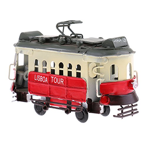 SM SunniMix Vintage Diecast Tram Straßenbahn Modell Trolleybus Toy Boards Automotive Decor - Rot
