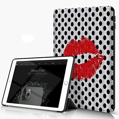 Carcasa para iPad 10.2 Inch, iPad Air 7.ª Generación ,Arte de beso de labios rojos sexy con diseño de patrón de lunares en blanco y negro,,incluye soporte magnético y funda para dormir/despertar