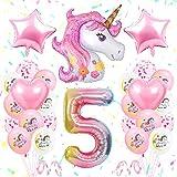 SPECOOL 5 an Decoration Anniversaire Licorne Fille, Licorne De Décoration d'anniversaire Rose, 3D Énorme Licorne Ballon, 5e Licorne Accessoires De Fête pour Bébé