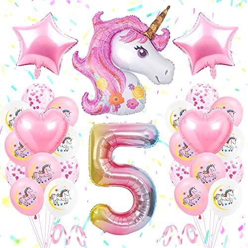 SPECOOL 5 Unicorno Compleanno Decorazioni Ragazze,Rosa Bianco 3D Palloncini Festa di Compleanno Unicorno Foil Numero 5,Stella Cuore Palloncini per 5 Anno Decorazioni Compleanno
