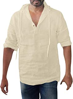 Men's Fashion Cotton Linen Hoodie Sweatshirts Retro Button Blouse Long Sleeve Solid Plus Size Hooded Shirts M-3XL