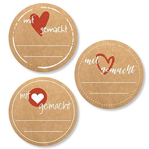 3er Set Etiketten Marmelade (72 Stk. - 4cm klein) - Homemade Aufkleber - Selbstklebend, ablösbare Sticker - Klebeetiketten zum Beschriften - Einmachetiketten in Kraftpapier Optik - Rund