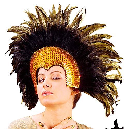 Widmann 66082 – Feather Headdress Cabaret Gold Headdress Accessory Theme Party Carnival