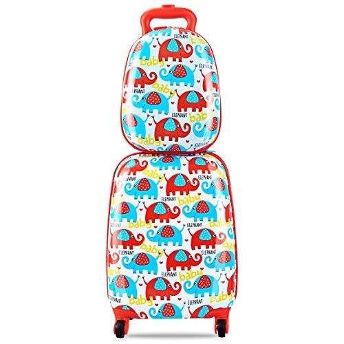 COSTWAY Set di 2 Pezzi Valigia per Bambini+ Zaino, Bagaglio a Maniglia Estensibile, con Ruote Girevoli a 360°, Elefanti Colorati