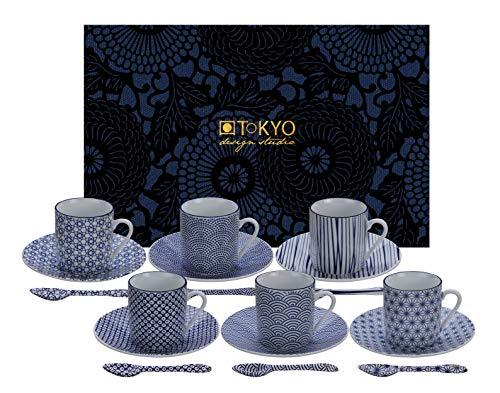 TOKYO design studio Nippon Blue Espresso-Set blau-weiß, 18-TLG, 6X Espresso-Tassen mit Untertassen und Löffeln, asiatisches Porzellan, Japanisches Design, inkl. Geschenk-Verpackung
