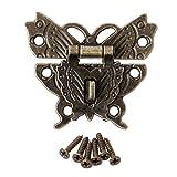 A0127 - Hebilla de candado para cerradura de placa de bloqueo decorativa, diseño de mariposa, estilo retro