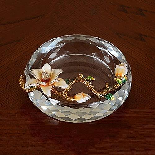 YEE Ceniceros para cigarrillos artesanía creativa Cenicero de cristal de cristal con decoración de flores de magnolia, soporte de ceniza redonda para regalos para fumar accesorios para la bandeja de c