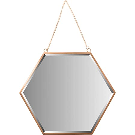 Amazon Com Franc Rose Gold Wall Mirror 17 5 Large Round Mirror With Chain Real Metal Chrome Rose Gold Finish Perfect For Girl S Room Kid S Room Bedroom Bathroom Makeup Mirror Rose Gold Decorative Hanging