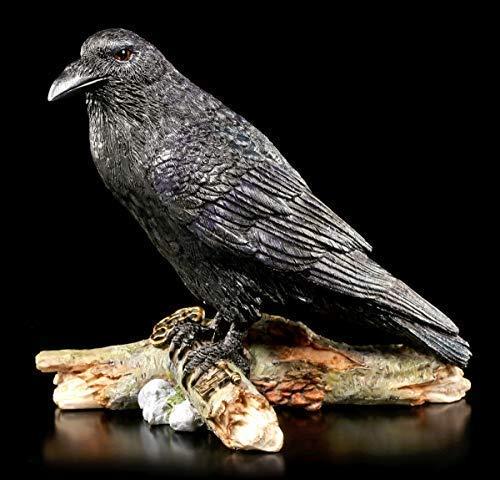Schwarze Raben Figur mit Schlüssel - The Raven and The Key   Tierfigur, Handbemalt wetterbeständig
