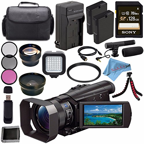 Sony HDR-CX900 HDRCX900/B Full HD Handycam Camcorder (Black) + Rechargable Li-Ion Battery + Charger + Sony 128GB SDXC Card + Case + Tripod + HDMI Cable + Card Wallet + Card Reader + Fibercloth Bundle