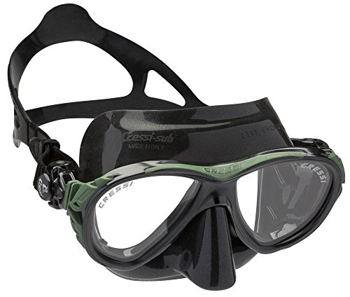 Cressi Eyes Evolution Crystal Diving Mask - Black/Green