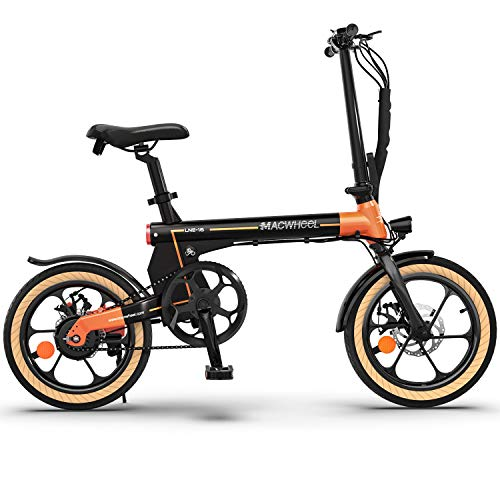 """Macwheel 16"""" Folding Electric Bike, Electric Commuter Bicycle with 7.5Ah Lithium-ion Battery, Top Speed 15.5mph, 5-Speed Gear Shift Power Assist City Bike for People Aged 14 to 65 (LNE-16)"""