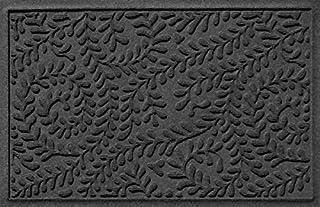 """حصیر درب کفپوش بنگالو ، 2 """"x 3"""" ساخت کشور آمریکا ، پوشش کف با دوام و تزئینی ، مقاوم در برابر لغزش ، داخل / خارج از منزل ، به دام انداختن آب ، مجموعه گلدان ، زغال چوب"""