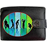 Golf Players Set of Golfing Strokes and Clubs KLASSEK Mens Wallet Real Black Leather RFID Blocking with Coin...