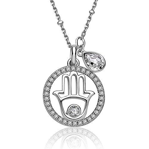 BROSWAY - Collana in argento con pendente mano di fatima centrale e swarovski bianchi BROSWAY G9NA04