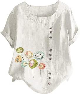 Plus Size Shirts for Womens Summer O-Neck Cute Printed Tops Short Sleeve Casual Loose Button Tunic Shirt Chaofanjiancai