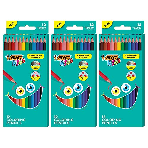BIC Kids Coloring Pencils Assorted Colors 3 Packs of 12 Colored Pencils