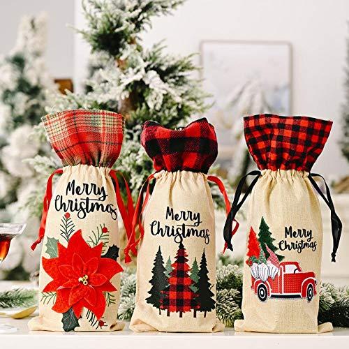 9 Weihnachts-Weinflaschenabdeckungen für Rotweinflaschen, Kordelzug, Weihnachtsgeschenkbeutel, Geschenkpapier für Weihnachten, Party, Festival, Abendessen, Party, Tischdekoration