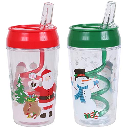 Christmas Tumblers with Closable Swirl Straws 1 Santa and 1 Snowman 12 oz (Set of 2)