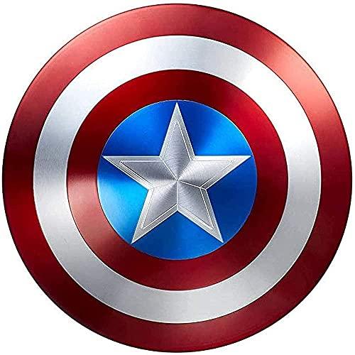 JJMUD Captain America Shield Metall Rollenspiele Superheld Retro KostüM Schild Halloween FüR Erwachsene Und Kinder American Shield Bar Wanddekorationen, 60CM (Size : 60cm)
