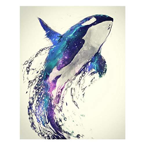 Mmnas Cuadro de diamantes con diseño de delfín y diamantes de imitación