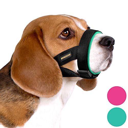 """BRONZEDOG Soft Padded Dog Muzzle Adjustable Neoprene Comfort Bitting Chewing Pet Muzzles for Small Medium Large Dogs Puppy (Medium, Snout Strap 8""""-10"""", Mint Green)"""
