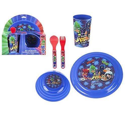 PJ Masks - Juego de vajilla de 5 piezas para niños con plato y cuchara, tenedor de platos, 5 unidades