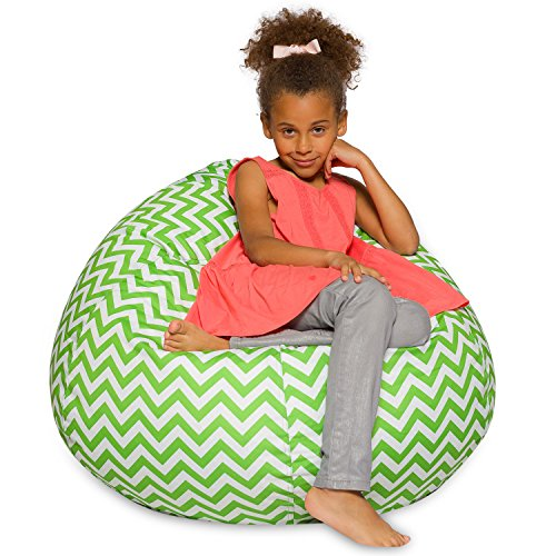 Posh Beanbags Big Comfy Bean Bag Posh Large Beanbag Chairs with Removable Cover for Kids, Teens and Adults Polyester Cloth Puff Sack Lounger Furniture for All Ages, 38in, Chevron Green and White
