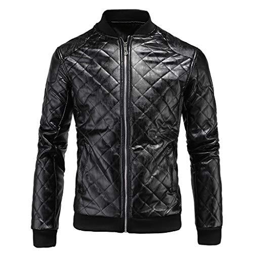 Lixiyu Leren vliegenjack voor heren, klassiek motorfiets, lederen jack, opstaande kraag, casual bikerjack