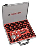 BOEHM JBL259PACC - Juego de sacabocados (2-59 mm, incluye soporte, disco de grabación, punta centradora con resorte, varilla con compás y cuchilla de repuesto en maletín de metal)