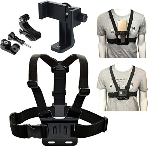 Chest Mount for Phone and Action Camera,Chesty Vest Harness Strap Holder Compatible with iPhone,Samsung,GoPro Hero 9,8,Max,Go Pro 7,6,5,4,3,3+,Session,Fusion and DJI OSMO,AKASO