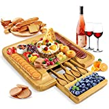 Bamboo Cheese Board and Stainless Knife Set, with Hidden Drawer Serving Platter Charcuterie Tray...
