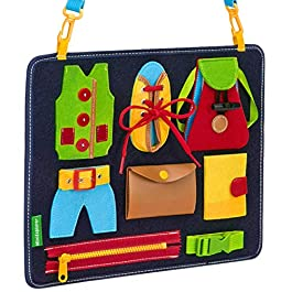 Busy Board for Toddlers – Learn to Dress – Basic Skills Toddler Activity Boards – Teaches Fine Motor Skills for Young Children Ages 2, 3, 4, 5 – Sensory Montessori Toys – for Car or Airplane Travel