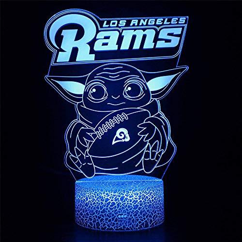 RAMS Star A Wars Baby Yoda LED 3D luz nocturna, alimentada por USB, 16 colores, interruptor táctil intermitente, decoración de dormitorio iluminación para niños regalo de Navidad