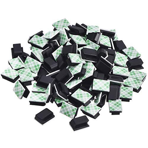 FILWO 100 Stücke Kabelklemmen Selbstklebende Kabelklemmen Kabel Management Selbstklebende Kabelklemmen Organizer Klebriger Kabelhalter für TV-Kabel Computer und USB-Kabel Mauskabel Kopfhörerleitungen