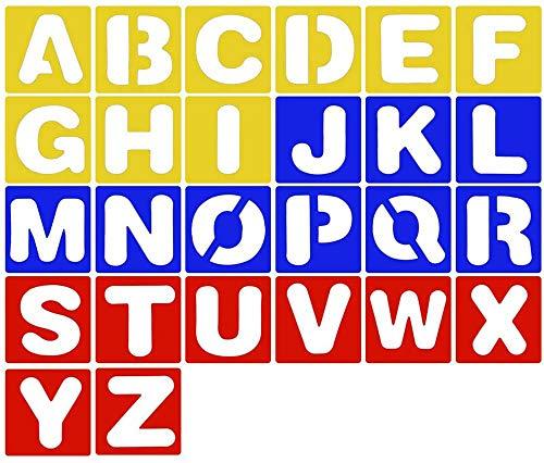 26 Piezas Plantilla de Letra de Plástico Plantilla de Alfabeto,3 Colores Plantillas de Letras de plástico,Adecuado para el Aprendizaje, Pintura, Scrapbooking y Manualidades DIY