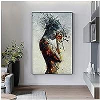 アートパネル ZAJFBH 抽象的な爆発火の女の子のポスターキャンバス絵画北欧のポスター印刷リビングルームのゴシックカドロスサロンのための大きなサイズの壁の芸術 11.8x15.7in(30x40cm)x1pcs フレームなし フレームなし