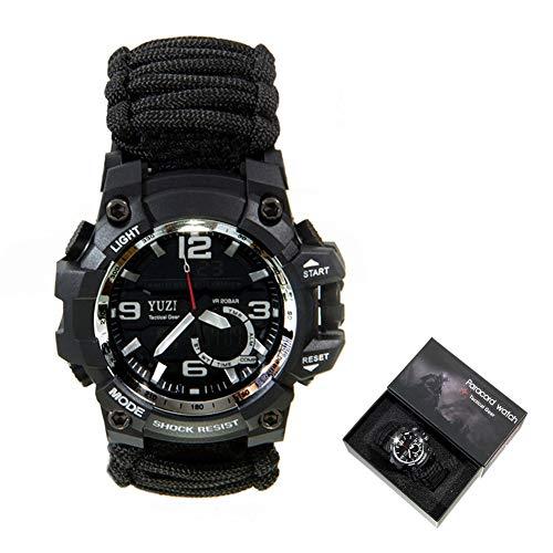 XCHUNA Bracelet de Survie en Plein air, Kit de Survie en Plein air Multifonctionnel, Bracelet de Corde de Sauvetage d'EDC Camping, Équipement de sécurité, Montre de paracorde de sécurité Compass,C