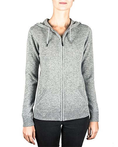 CASH-MERE.CH 100% Kaschmir Damen Kapuzenpullover | Hoodie mit Reißverschluss (Grau, XS)