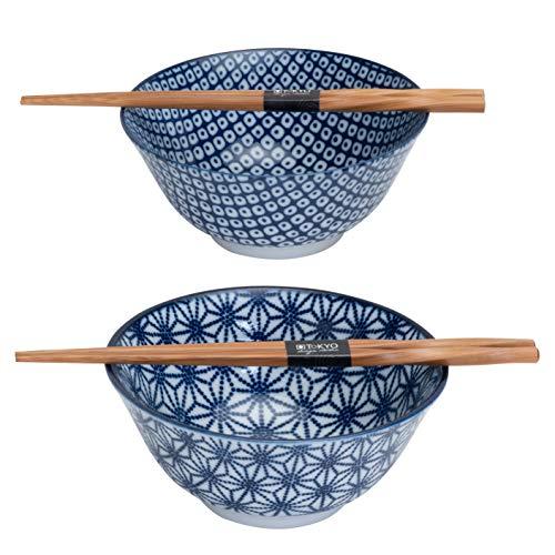 TOKYO Design Studio Nippon Tayo - Juego de cuencos de bambú (2 cuencos y 2 pares de palillos de bambú, caja de regalo decorativa, apta para microondas y lavavajillas, estrellas, color azul