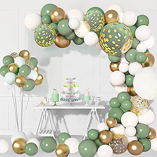 124 Pezzi Palloncini Kit Verdi e Oro Confetti Palloncini Lattice, Verde Palloncini Compleanno per Anniversario, Matrimonio, Battesimo Bambino, Decorazione Compleanno per Feste